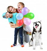 foto of puppies mother dog  - Mother with children and cute dog isolated on white - JPG