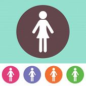 picture of single woman  - Single vector woman icon on round colorful buttons - JPG