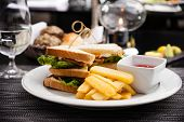 foto of french fries  - Sandwich with fried eggs - JPG