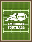 stock photo of football pitch  - American football design over green pitch background - JPG