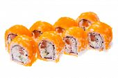 stock photo of masago  - Rolls with snow crab - JPG