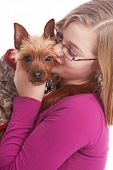 picture of preteen  - Preteen kissing her chihuahua - JPG