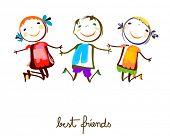 stock photo of animated cartoon  - best friends - JPG