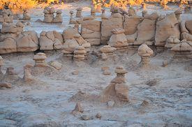 stock photo of goblin  - geological formations in Goblin Valley State Park Utah - JPG