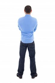 picture of arab man  - back view of arabic business man in blue shirt isolated on white background - JPG