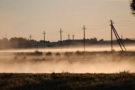 image of paysage  - summer mist dense and white like milk cover line of electic poles - JPG