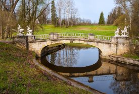 foto of centaur  - Bridge with sculptures of centaurs in Pavlovsk park - JPG