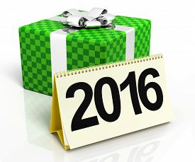 picture of box-end  - Gift box with 2016 calendar on the white background - JPG
