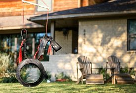 image of tire swing  - Horse Tire Swing front of the house - JPG