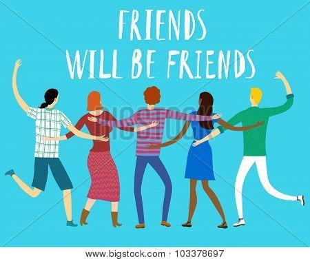 Happy Friends Enjoying Friendship Day Poster