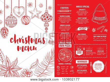 Christmas Restaurant Poster.Christmas Party Invitation Restaurant Food Flyer Poster