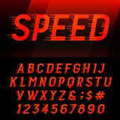 Speed alphabet vector font. poster