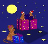stock photo of pack-rat  - Three little mice that packs out Christmas gifts - JPG