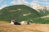 image of 18 wheeler  - three trucks coming up the canadian rockies