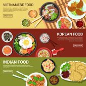 Постер, плакат: Asian street food web banner
