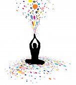 pic of yoga silhouette  - A young man doing yoga vector silhouette in creating a nature power vector illustration - JPG
