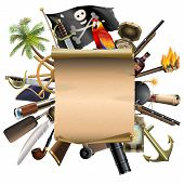 Постер, плакат: Vector Old Scroll With Pirate Accessories