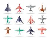 foto of starship  - different types of plane icons  - JPG