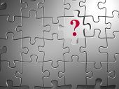 stock photo of question-mark  - puzzle with a question mark on empty field  - JPG