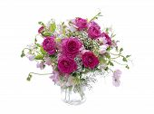 stock photo of sweetpea  - Floral arrangement in a vase for weddings or other celebrations - JPG