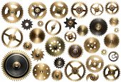 Clockwork spare parts. Metal gear, cogwheels and other details. poster