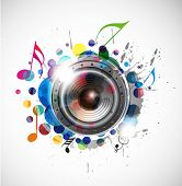 foto of musical note  - abstract colorful speaker design with background illustration - JPG