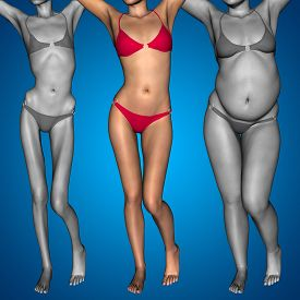 pic of emaciated  - Concept or conceptual 3D woman or girl as fat - JPG