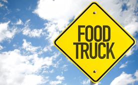 picture of food truck  - Food Truck sign with sky background - JPG