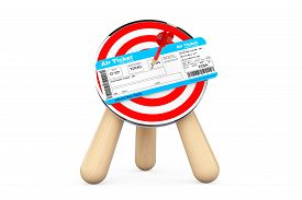 image of archery  - Air Ticket in Center of Archery Target on a white background - JPG