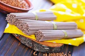 pic of buckwheat  - buckwheat noodles and buckwheat on a table - JPG