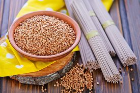 image of buckwheat  - buckwheat noodles and buckwheat on a table - JPG