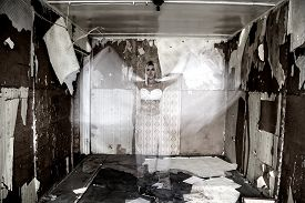 foto of wraith  - Smiling ghost in the old abandoned house - JPG