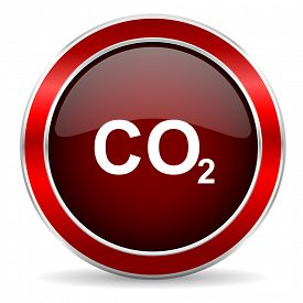 image of carbon-dioxide  - carbon dioxide red circle glossy web icon - JPG