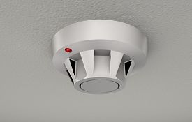 stock photo of smoke detector  - Life saving smoke detector attached to ceiling - JPG