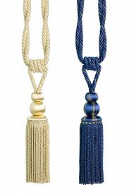 picture of tassels  - Beautiful curtain tassels isolated on white background - JPG