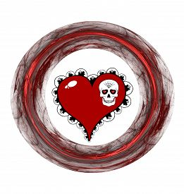 stock photo of plasmatic  - Red heart skull and plasmatic ring on white background - JPG