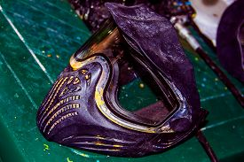image of paintball  - Colorful paintball mask after the extreme game - JPG