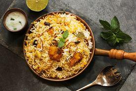 picture of raita  - Fish Biryani with Raita Basmati rice and Indian spices - JPG