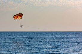 picture of parasailing  - People parasailing over the sea on natural background - JPG