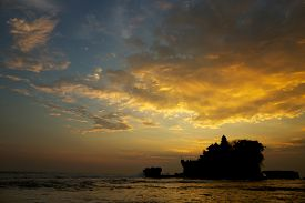 image of tanah  - Tanah Lot And Sea Waves On Sunset - JPG