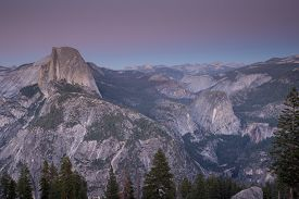 pic of granite dome  - Famous Half Dome and surrounding views at Yosemite National Park in California - JPG