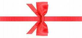 picture of box-end  - symmetric red satin bow with vertically cut ends on narrow ribbon isolated on white background - JPG