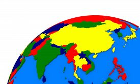 stock photo of southeast  - Political map of southeast Asia on globe - JPG