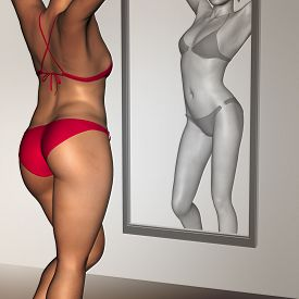 stock photo of anorexic  - Concept or conceptual 3D woman - JPG