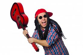 pic of dreadlock  - Man with dreadlocks holding guitar isolated on white - JPG