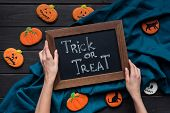 Halloween Composition With Chalboard And Cookies poster