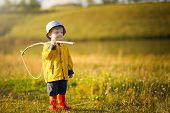 Child Boy With Fishing Rod Ready For Fishing poster
