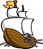 picture of tall ship  - Vector color illustration of a spanish galleon with cannon - JPG