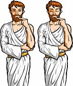 stock photo of socrates  - Vector color illustration of a serious philosopher thinking - JPG