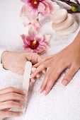 stock photo of nail salon  - manicure treatment at the wellness center - JPG